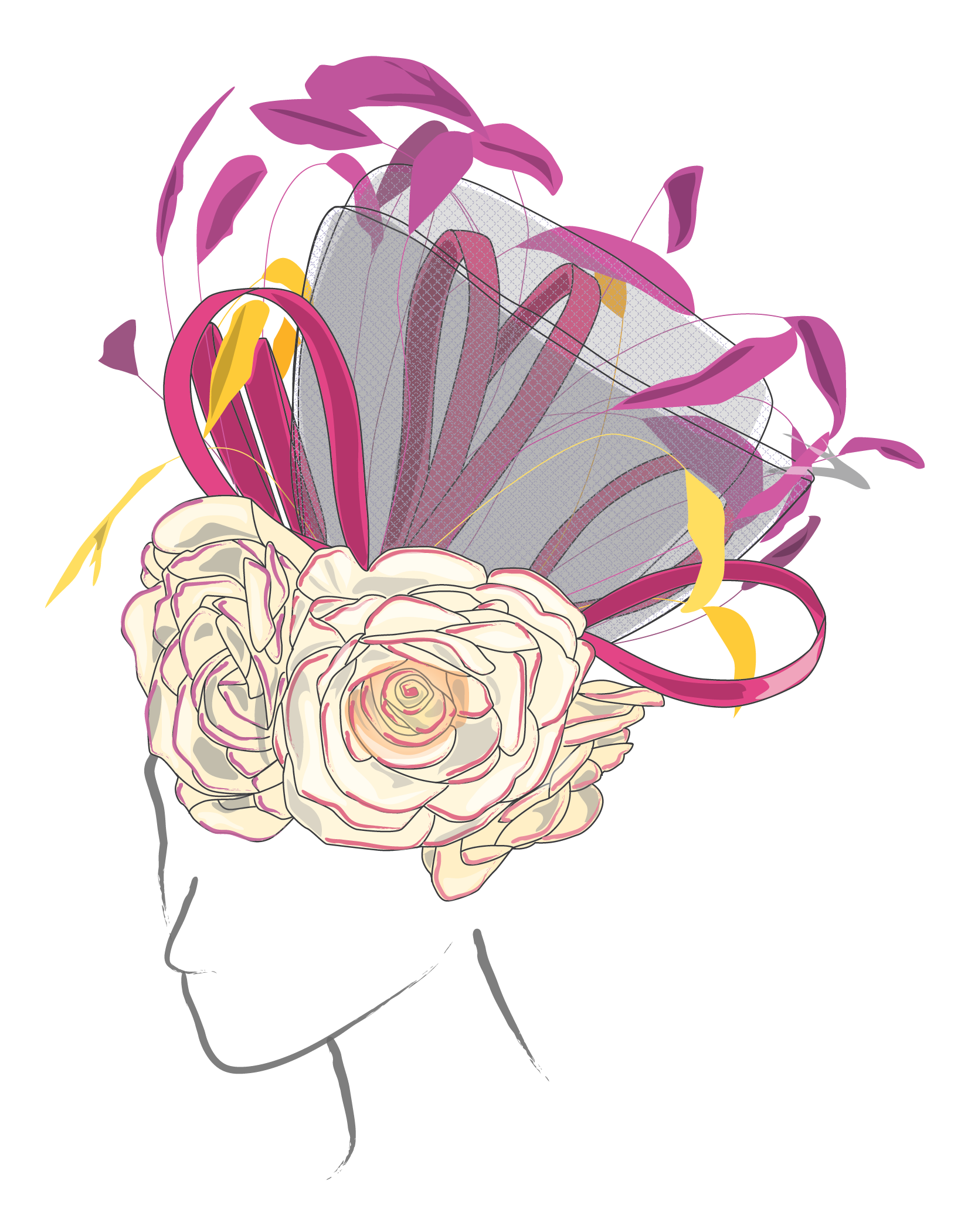 white pink and yellow derby hat design