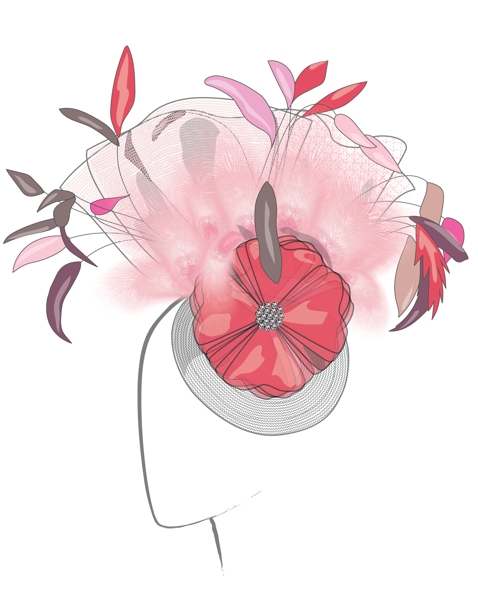 derby hat draft pink and fuchsia colors