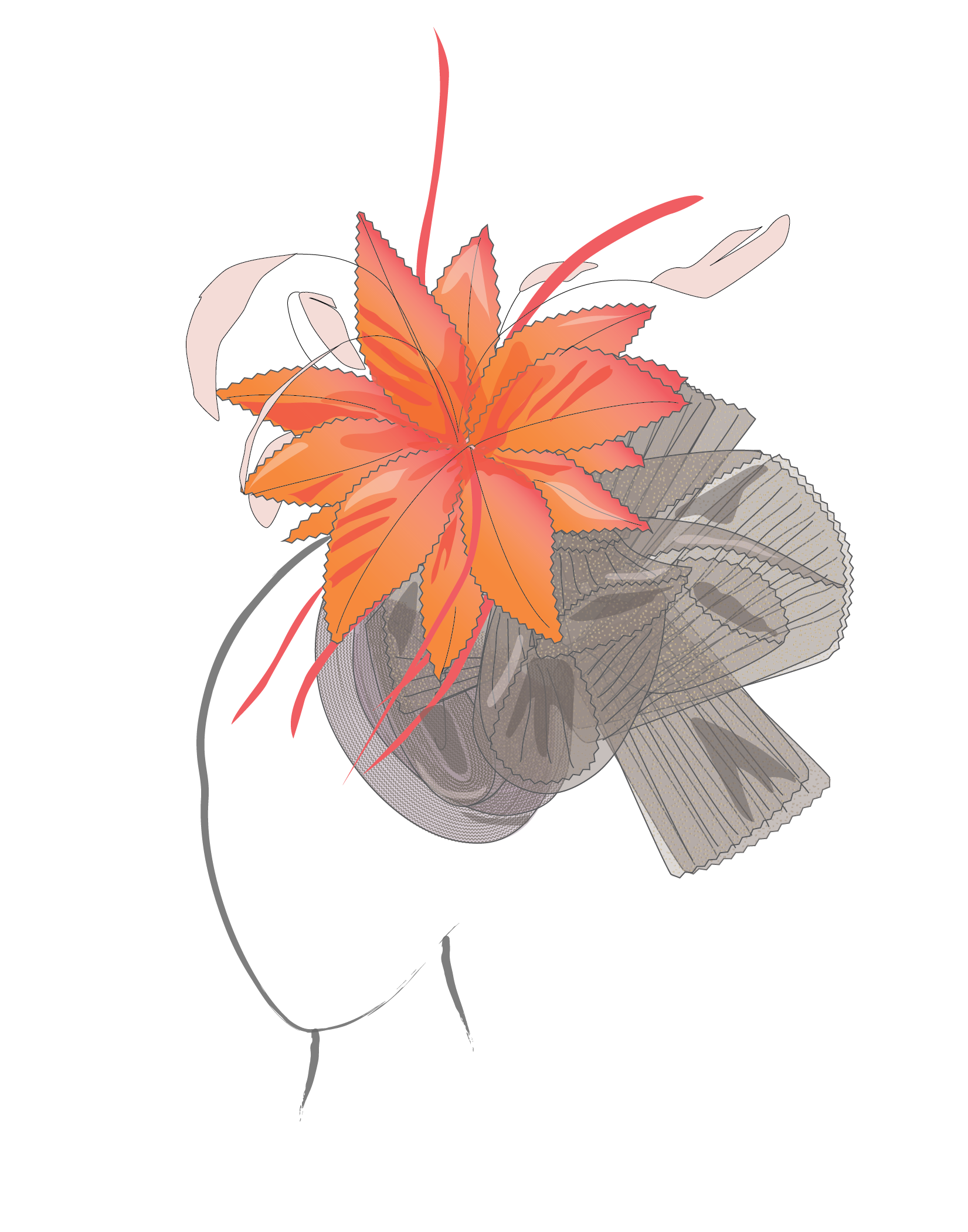 orange and black derby hat design