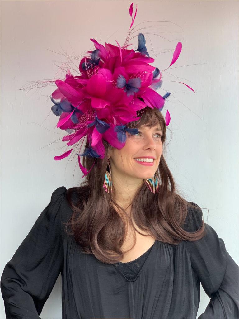 Kenzie Kapp Fascinator Derby Hat fuchsia flowers feathers