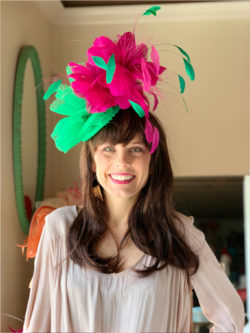 Kenzie Kapp Facinator Derby Hat green pink feathers