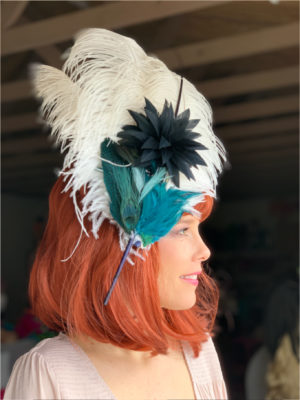 Kenzie Kapp Facinator Derby Hat larger white feathers accents
