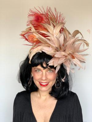 Kenzie Kapp Facinator Derby Hat orange feathers