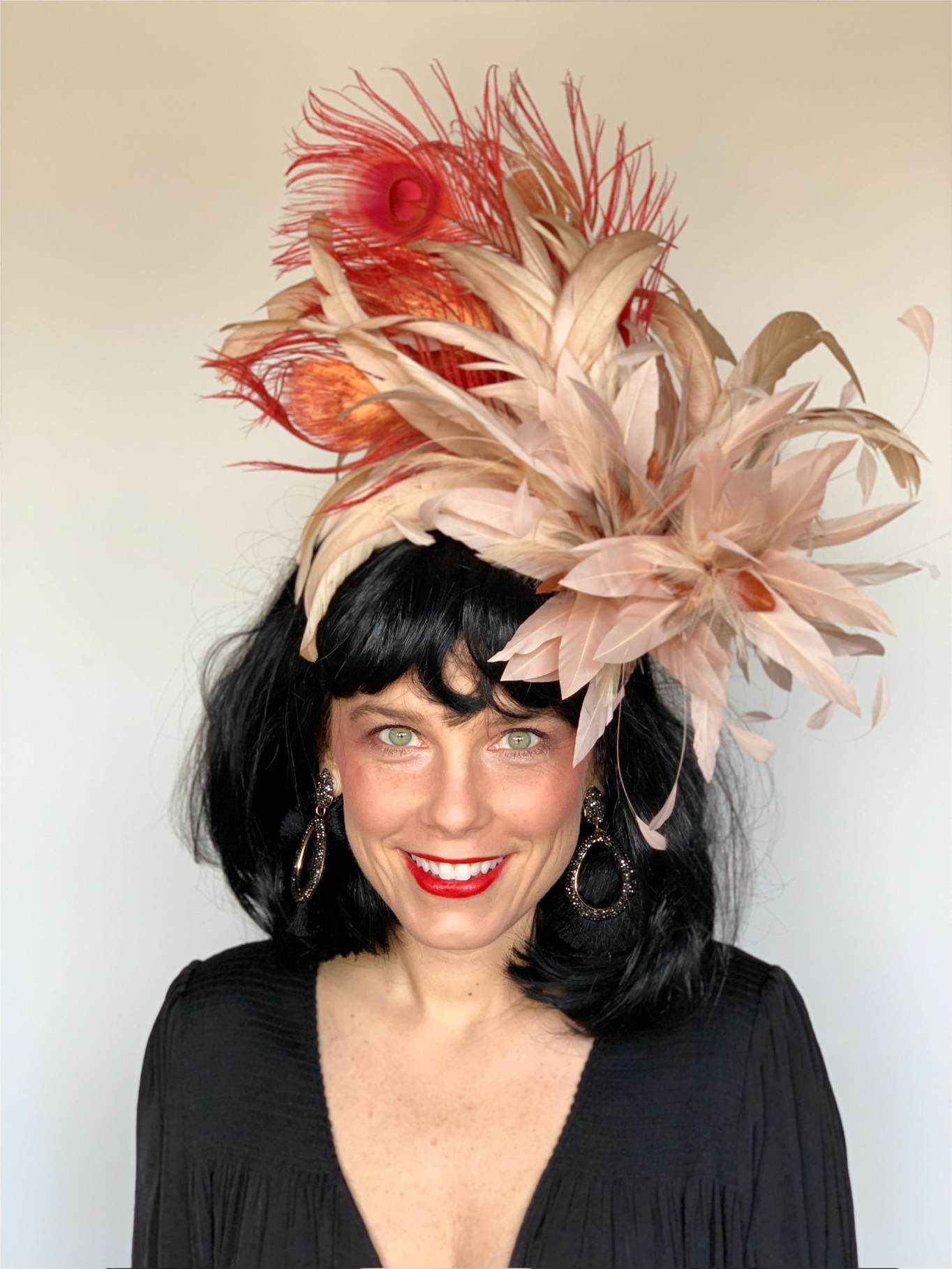 Kenzie Kapp Facinator Derby Hat orange feathers