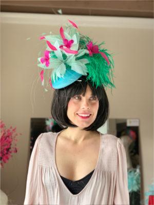 Kenzie Kapp Facinator Derby Hat pink feathers teal flowers
