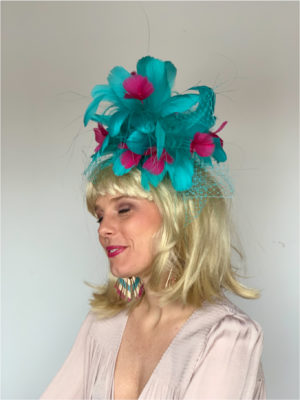 Kenzie Kapp Facinator Derby Hat teal and fuchsia flowers
