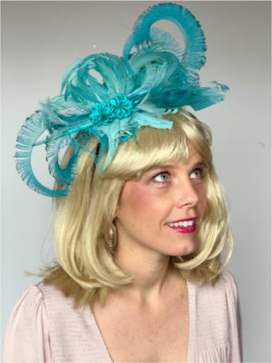Kenzie Kapp Facinator Derby Hat teal big feathers