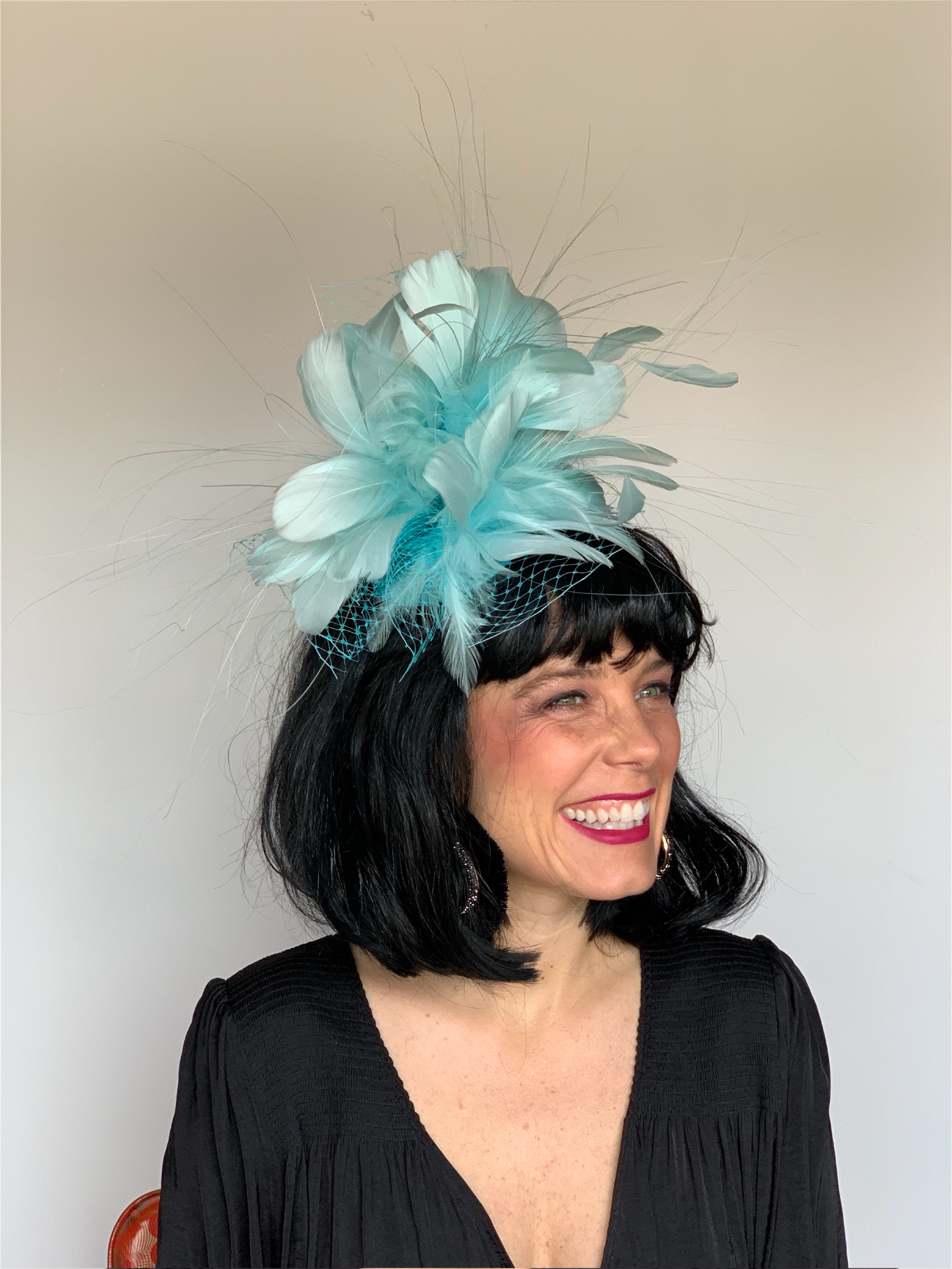 Kenzie Kapp Facinator Derby Hat teal feathers