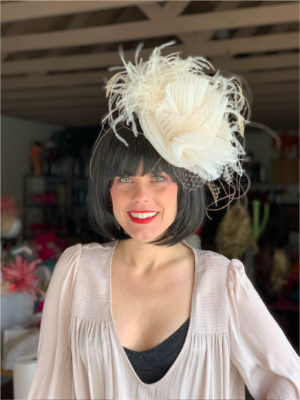 Kenzie Kapp Facinator Derby Hat white fine feathers