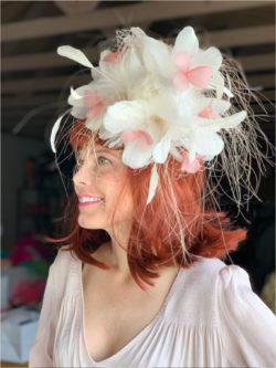 Kenzie Kapp Facinator Derby Hat white fine fine feathers