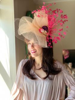 kenzie pink peach derby hat