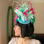 light blue pink Kentucky Derby hat