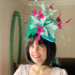 light blue pink Kentucky Derby hat