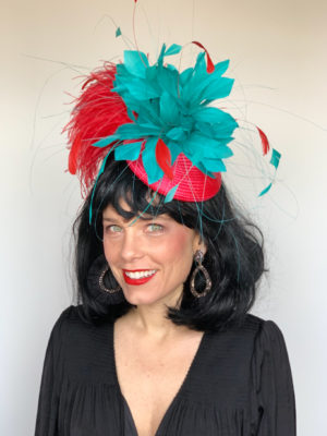 red teal Kentucky Derby hat